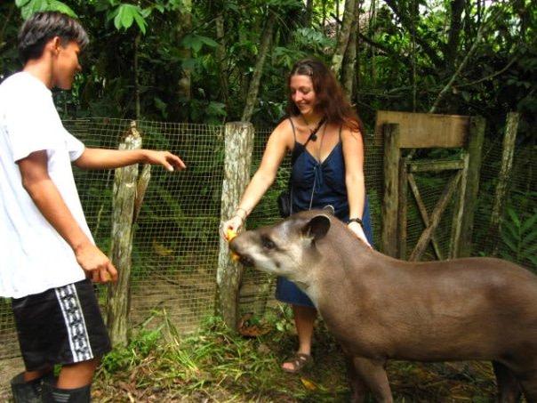 Meghan Feeding a Wild Boar