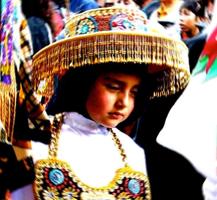 Tired Child at Festival in Peru